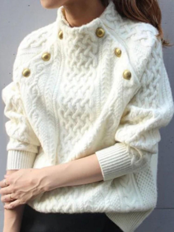 Button Raglan Sleeve Thick Loose Standard Sweater