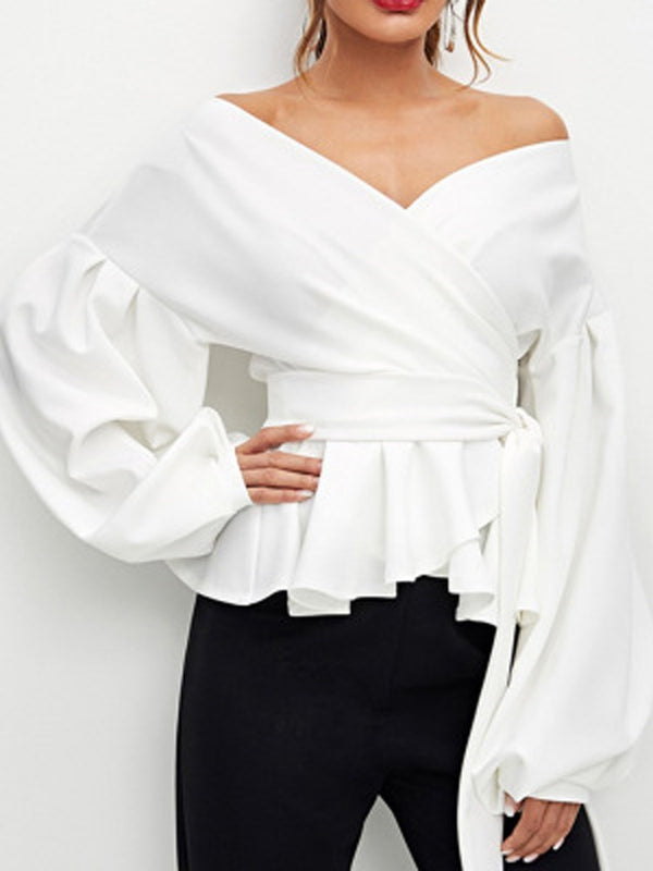 Patchwork Off Shoulder Plain Long Sleeve Standard Blouse