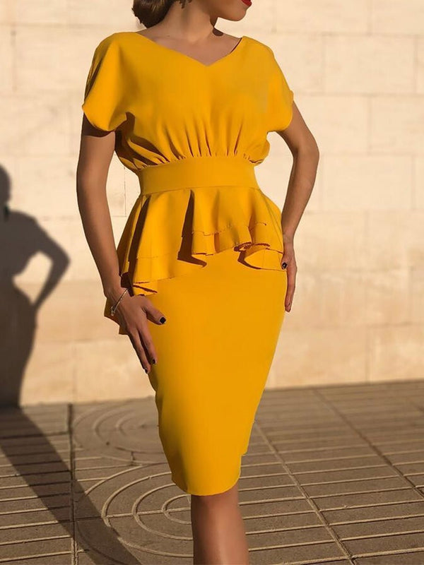 Short Sleeve Knee-Length V-Neck Bodycon High Waist Dress