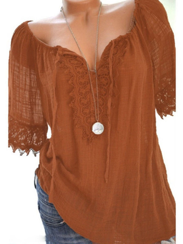 Hollow Plain Mid-Length Half Sleeve Blouse