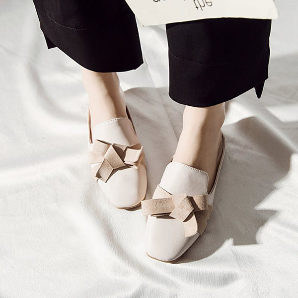 Bow Closed Toe Slip-On Block Heel Color Block Casual Slippers