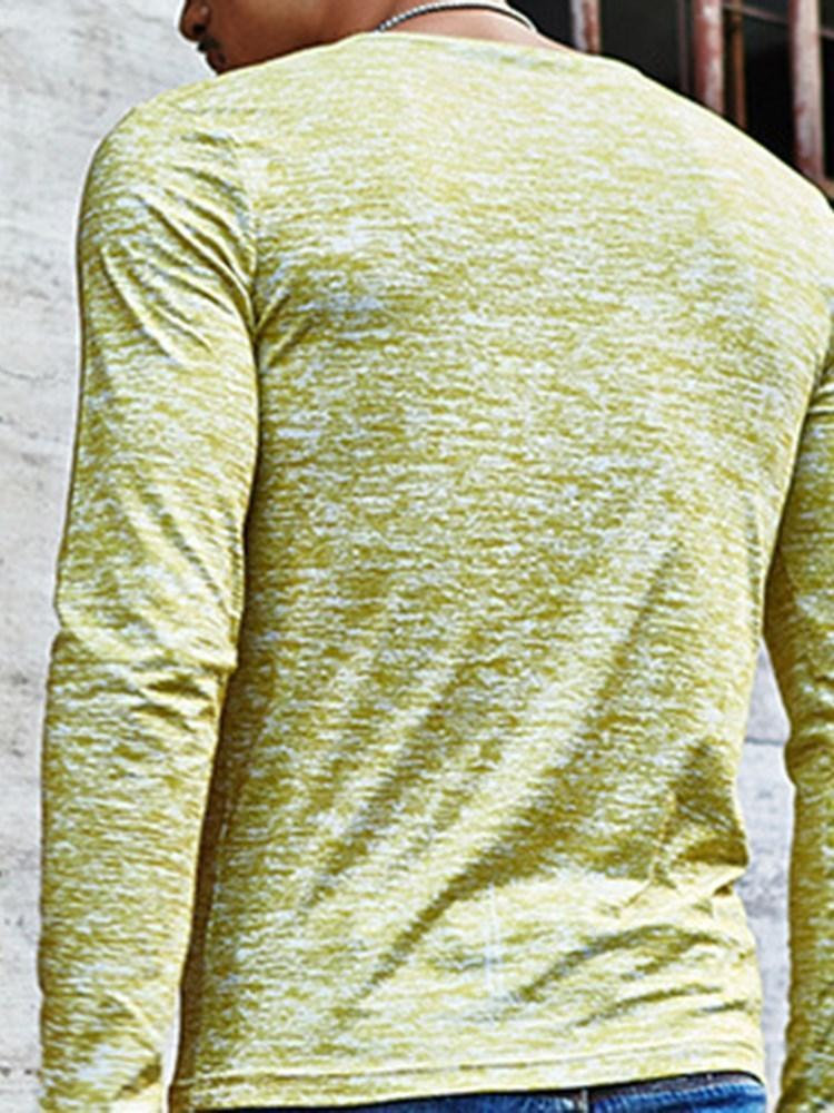 Casual Color Block V-Neck Long Sleeve Slim T-shirt