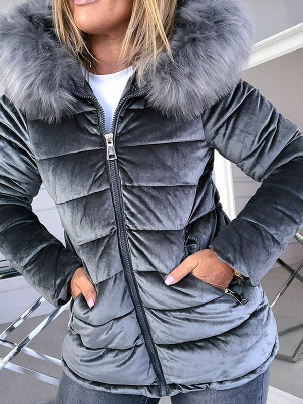 Zipper Thick Lace-Up Standard Cotton Padded Jacket