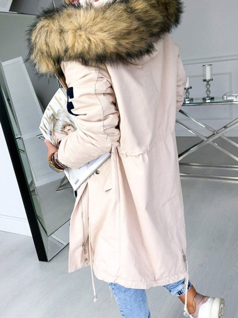 Zipper Embroidery Hooded Loose Long Sleeve Trench Coat