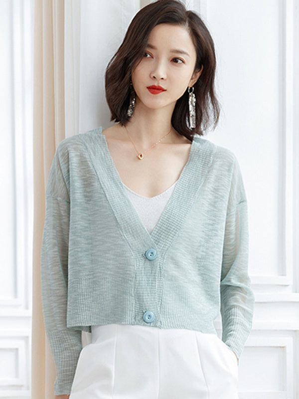 Regular Single-Breasted Thin Long Sleeve V-Neck Sweater