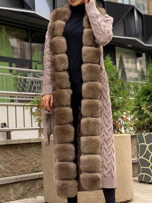 Regular Long Lace-Up Thick Faux Fur Overcoat