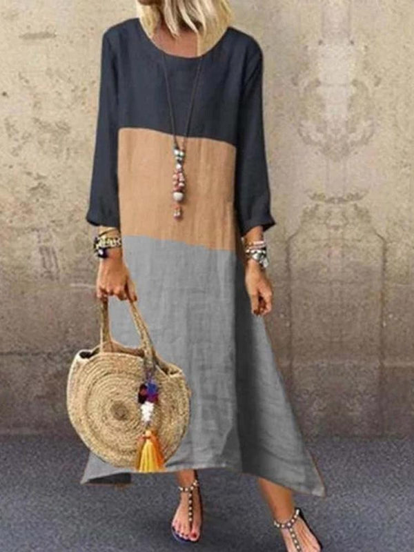 Round Neck Ankle-Length Patchwork A-Line Pullover Dress