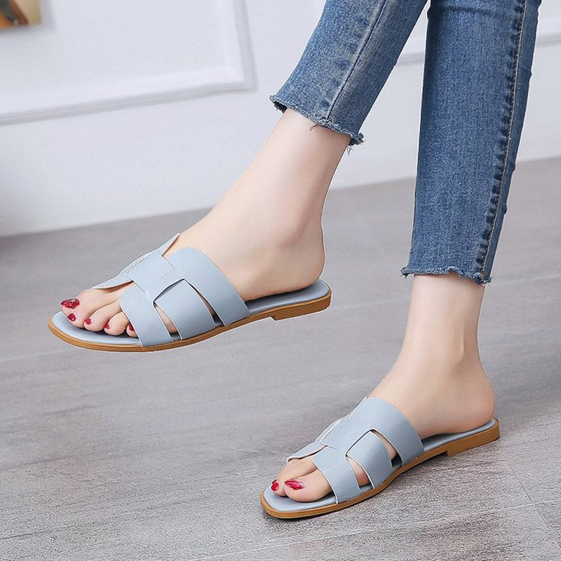 Flip Flop Block Heel Slip-On Casual Rubber Slippers