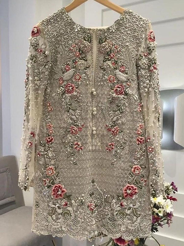 Floral Embroidery Round Neck Mid-Length Long Sleeve Blouse