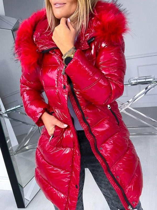 Thick Patchwork Zipper Mid-Length Cotton Padded Jacket