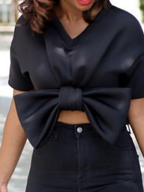 Regular Plain Bowknot Short Sleeve Short Blouse