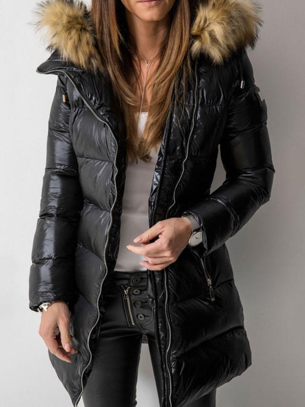 Straight Patchwork Zipper Mid-Length Cotton Padded Jacket