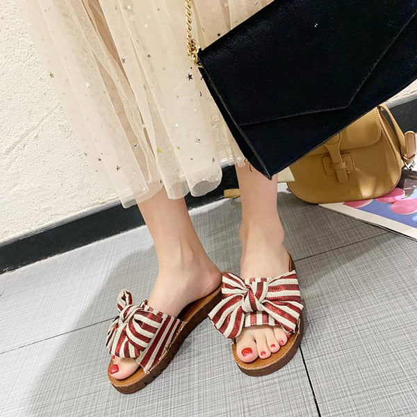 Platform Flip Flop Slip-On Flat With Stripe Casual Slippers