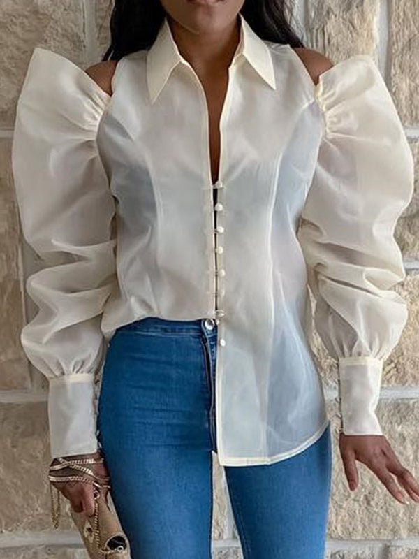 Lapel See-Through Plain Long Sleeve Standard Blouse