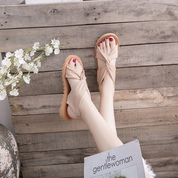 Elastic Band Slingback Strap Open Toe Flat With Plain Casual Sandals