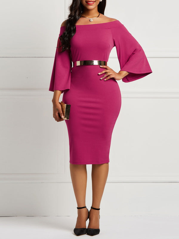 Knee-Length Three-Quarter Sleeve Off Shoulder Pullover Bodycon Dress