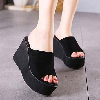 Wedge Heel Peep Toe Slip-On Western Plain Sandals
