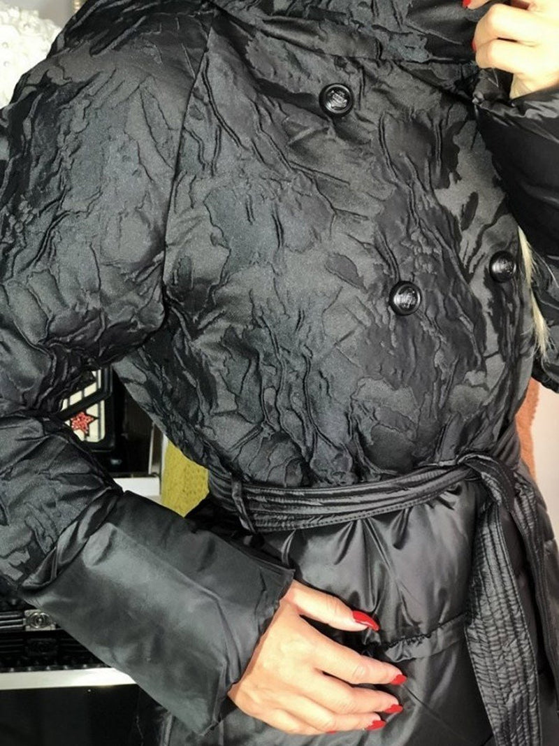 Double-Breasted Lace-Up Loose Long Cotton Padded Jacket