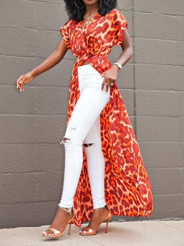 V-Neck Print Leopard Short Sleeve Long Blouse
