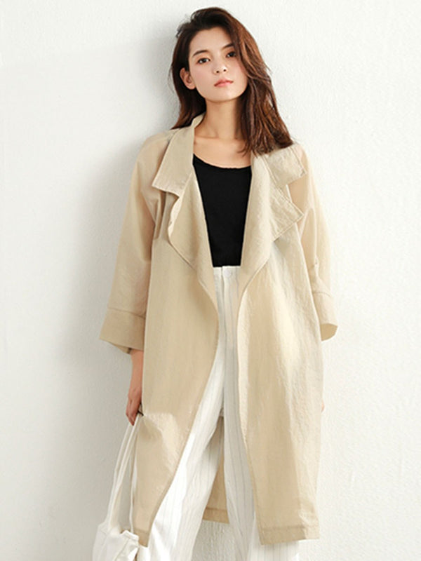 Long Single-Breasted Summer Office Lady Trench Coat