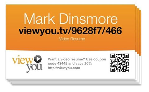 100 Video Resume Business Cards