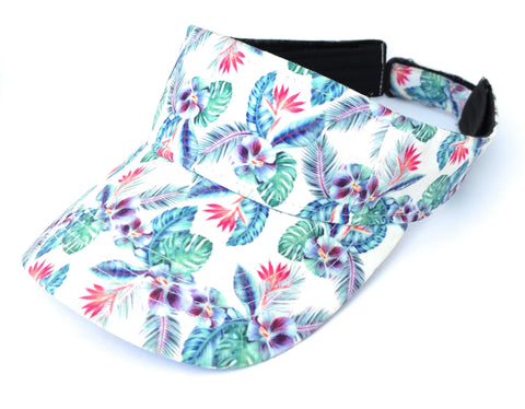 Bright Beach Visor White Floral Hawaii