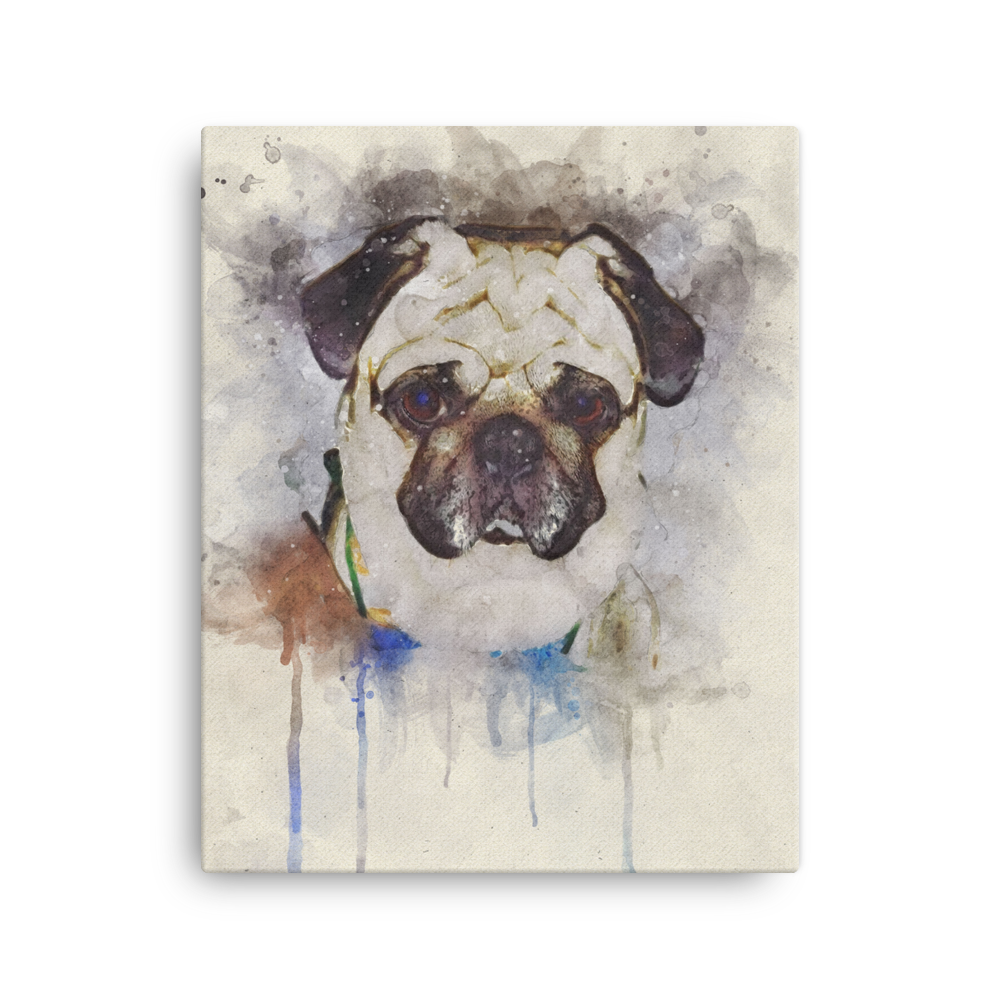 Pug Color Paint Canvas Frame