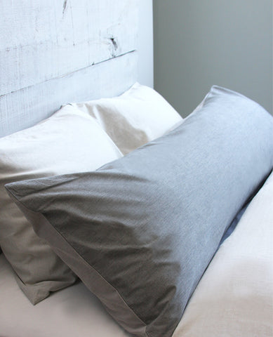Chambray Grey & Charcoal Body Pillow