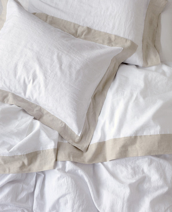 Au Lit Fine Linens - Lavato Linen Natural Contrast Collection