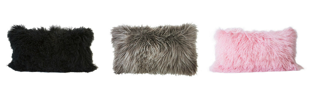 Au Lit Tibetan Fur Cushion Lumbar Grid