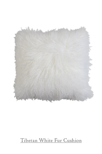 Tibetan White Fur Cushion