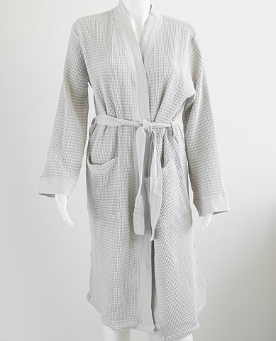 Washed Cotton/Bamboo Waffle Robe Silver