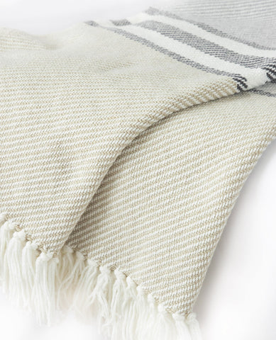 Allagash Dove Grey/Slate Striped Throw