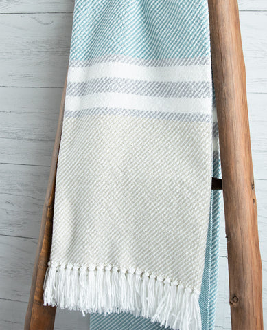 Allagash Seaglass/Dove Grey Striped Throw