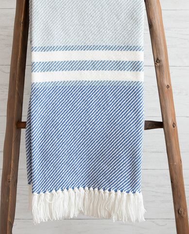 Allagash Shore/Denim/Baja Blue Striped Throw