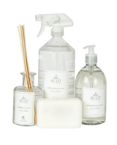 Cotton Flower Bath Set with Linen Water