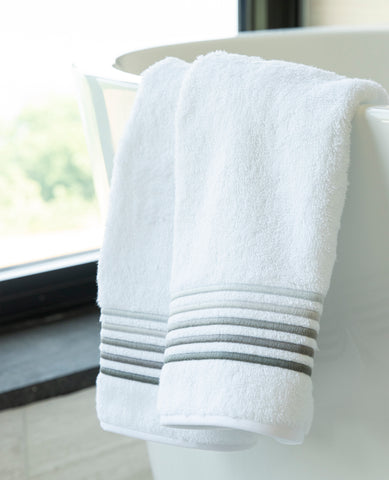 5-Line Grey Italian Embroidered Guest Towel White