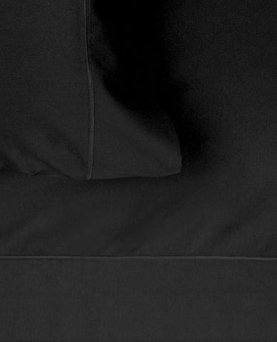 320 Thread Count Cotton Satin Black Sheets and Duvet Cover