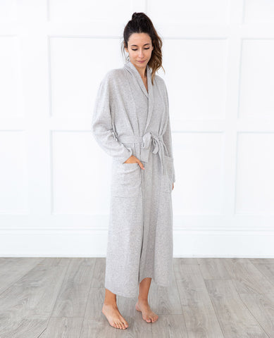 Cashmere Robe Pearl Heather