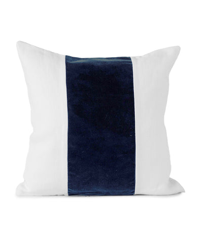Ming White Linen/Navy Velvet Cushion