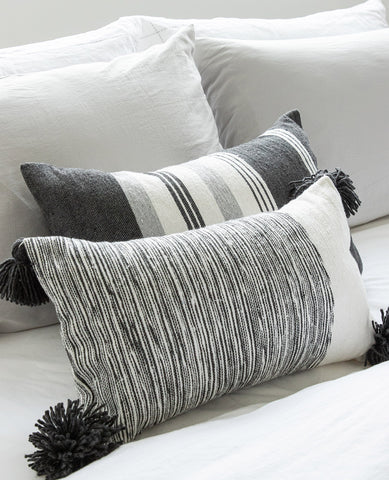 Dipped Charcoal Pompom Cushion