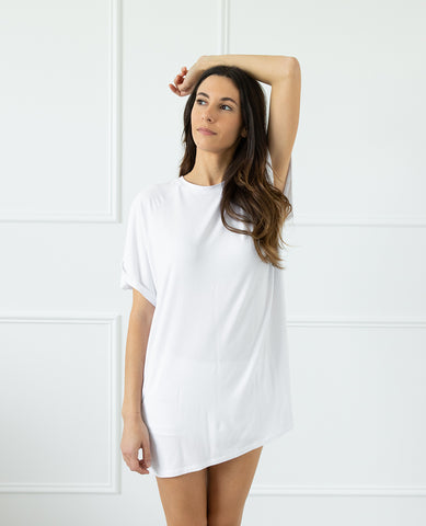 Easy Living Bamboo Jersey Sleep Tee White