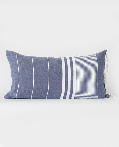 Turkish Fouta Pillow Navy/White Stripe