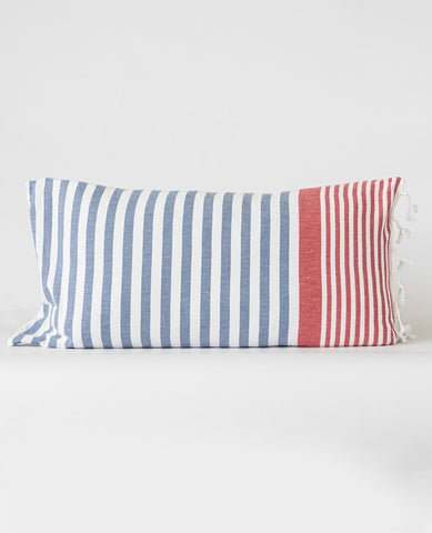 Turkish Fouta Pillow Blue/Red Stripe