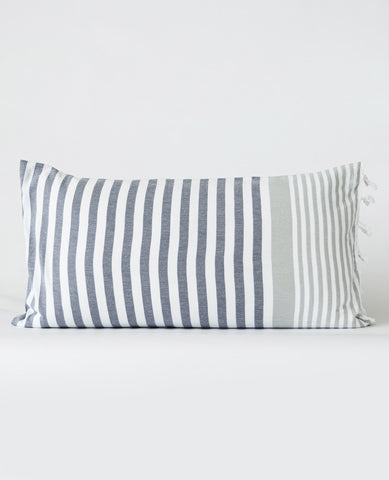 Turkish Fouta Pillow Grey/Silver Stripe