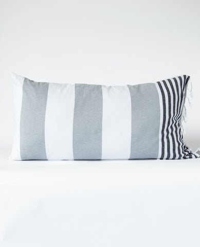 Fouta Pillow Ladon Silver/Black Stripe