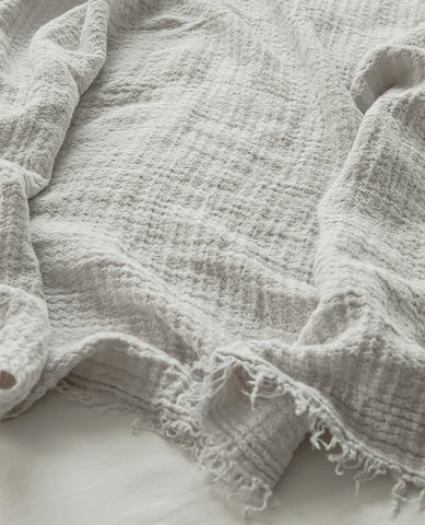 Hampton Silver Linen Throw