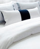 Ming White Navy Velvet Cushion