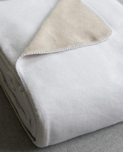Reversible Brushed Cotton Blanket White/Taupe