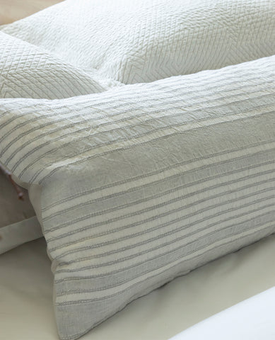 Suzanne Dimma x Au Lit Raya Linen Striped Cushion Pebble